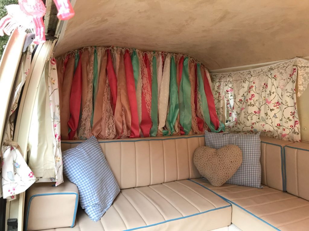 Vintage style fabric backdrops cut into ribbons