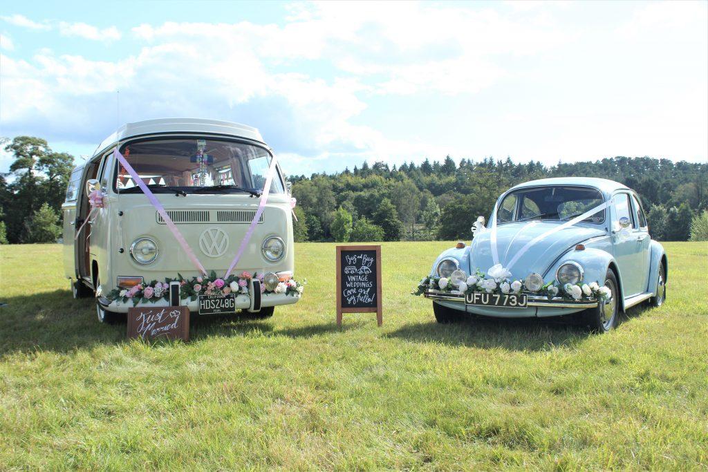 Pearl + Betsie Wedding Camper Van and Beetle Wedding Car