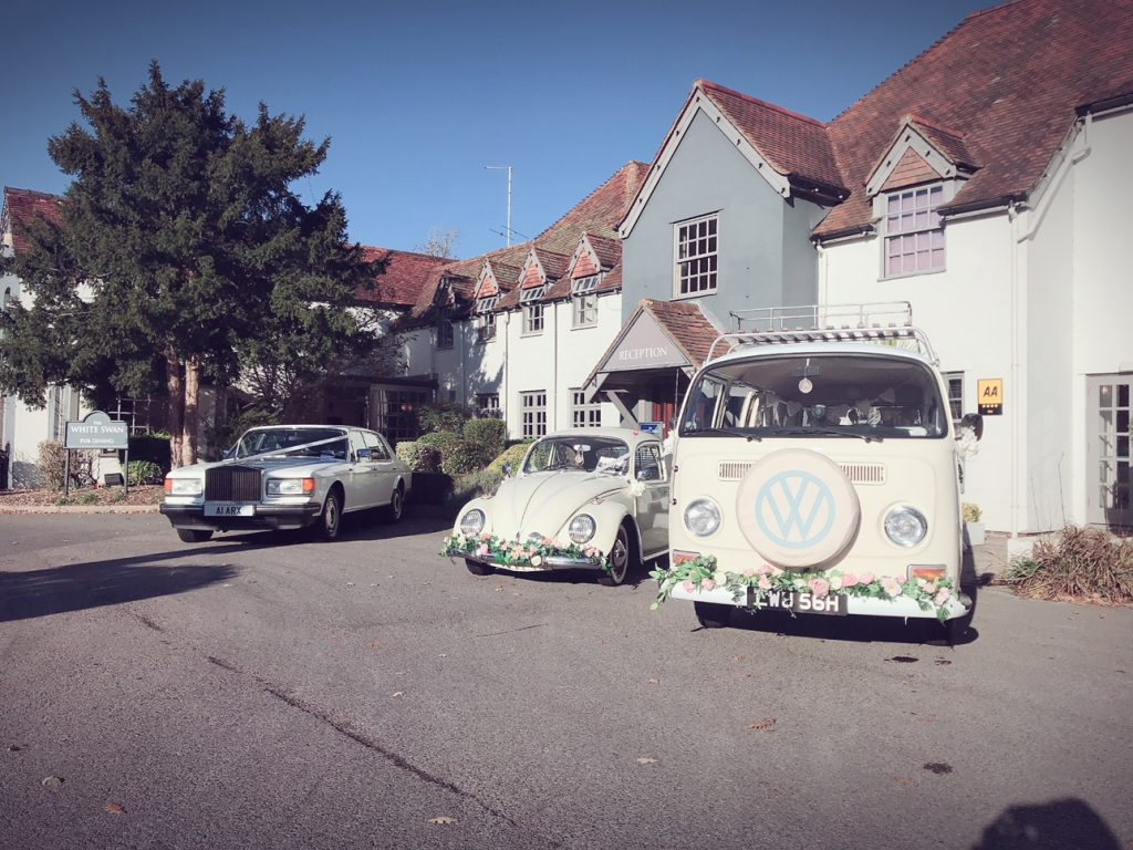 Wedding cars outside The White Swan, Arundel in November 2018 for their twice annual wedding fair. The next wedding fair is 2019.