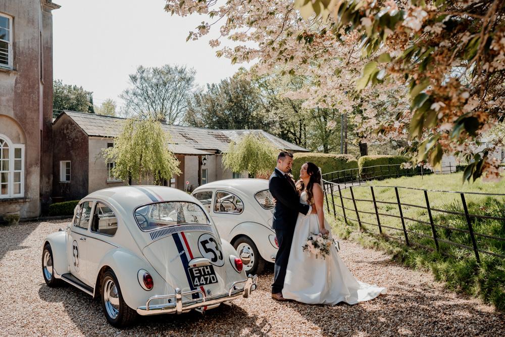 Beetle wedding cars at East Pennard House