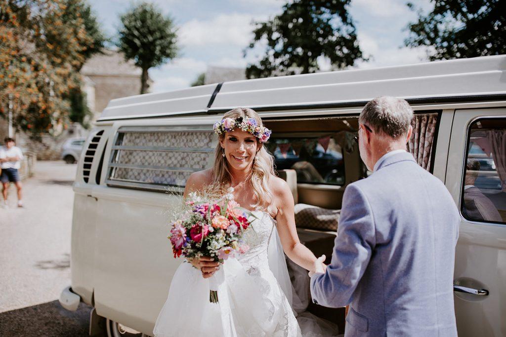 Pearl, camper van wedding car at Cripps Barn
