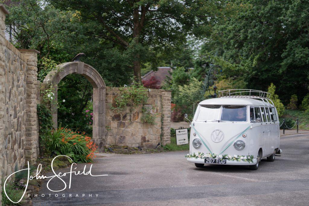 Cream and white splitscreen camper van at Ravenswood Venue